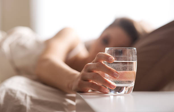 a glass of water after wakeup